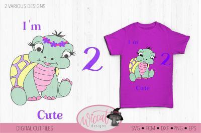 Turtle svg, girl svg, baby svg, two svg, second birthday svg