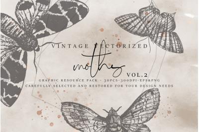 VintageVectorized - Moths2 Clipart