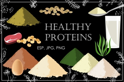 Healthy Proteins. Vector Collection