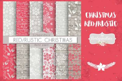 Christmas red rustic digital paper pack