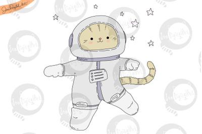 Astronaut Cat   PNG/JPEG   Cute Clip Art Illustration