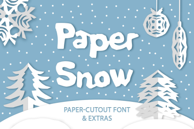 Paper snow. Cut out font & extras.