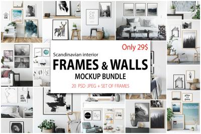 Scandinavian Interior Frames & Walls Mockup Bundle
