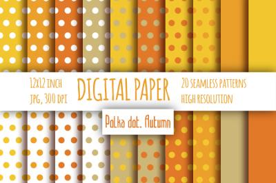 Polka dot orange digital paper