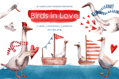 Birds in Love - Watercolor Clip Art Set
