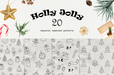 Holly Jolly - Christmas and New Year seamless patterns.
