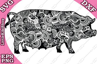 Zentangle Pig Svg,MANDALA PIG SVG, Zentangle animal Svg
