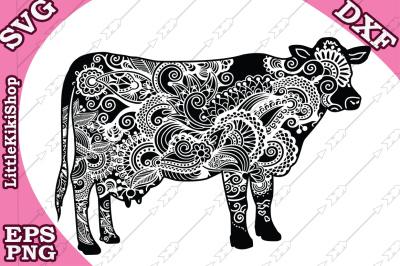 Zentangle Cow Svg, MANDALA COW SVG, Zentangle animal Svg