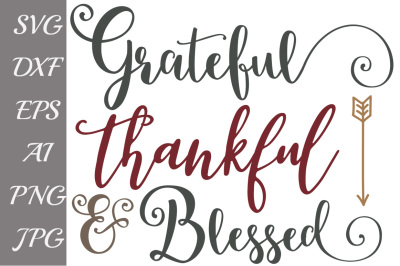 Fall Svg, Grateful Thankful,BLESSED SVG, Files for Cameo