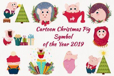 Cute Pig. Christmas set