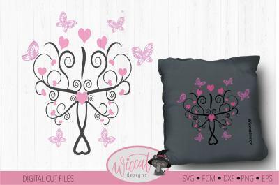 Butterfly Tree svg, Heart svg, nursery decor svg, newborn cut file, gi