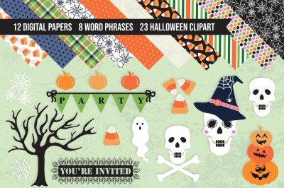 Halloween PNG Clipart & Digital Paper Pack