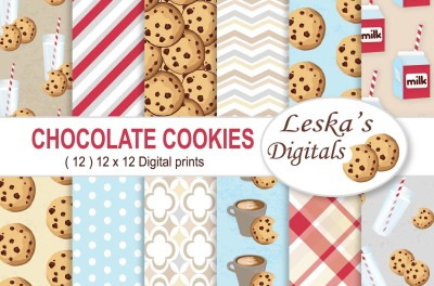 Milk & Cookies Digital Paper