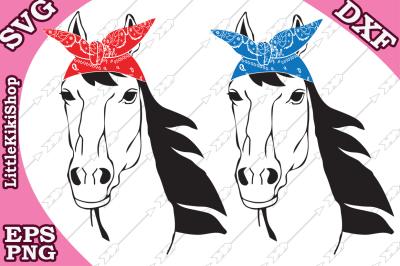 Horse Bandana Svg, HORSE SVG, Country Farm Svg
