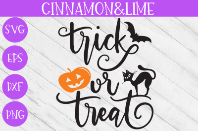 Trick or Treat Halloween Wood Sign Hand-lettered SVG