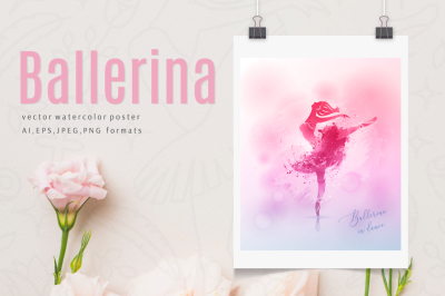 Watercolor poster - Ballerina