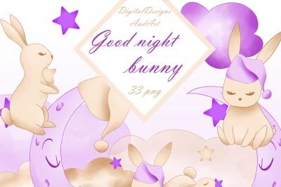 Good nught bunny in purple