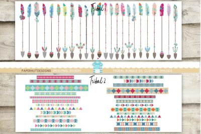 Tribal Borders and Tribal Arrows Clipart Bundle