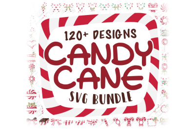 Candy Cane SVG Monogram Christmas in SVG, DXF, PNG, EPS, JPEG