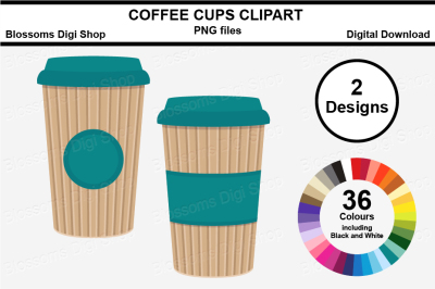 Coffee Cup Clipart, multi colours, 72 PNG files