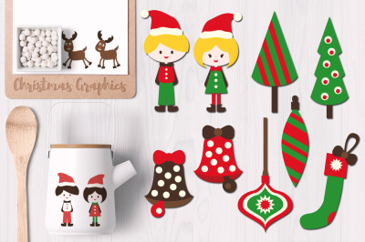 Christmas Ornaments and Kids Clip Art