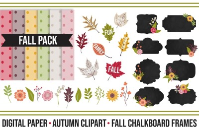 Fall Chalkboard Super Pack Digitals