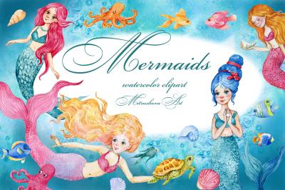 Mermaids. watercolor clipart
