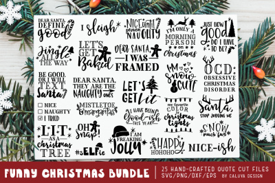 Funny Christmas Phrases SVG Cut File Bundle