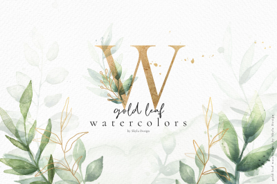 Gold leaf watercolor alphabet clipart