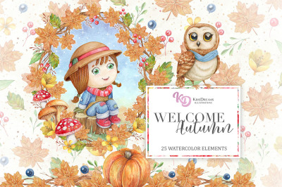 Welcome Autumn Watercolor Clipart