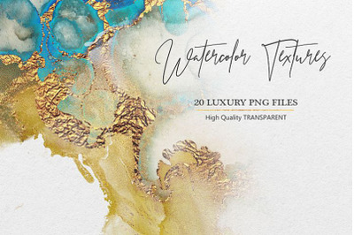 Watercolor PNG Gold Textures