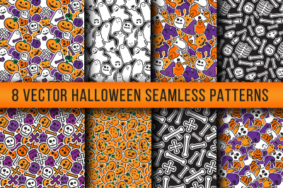 Stylish Halloween Seamless Patterns