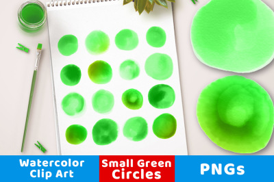 Watercolor Circles Clipart- Small Green, Green Watercolor Clipart