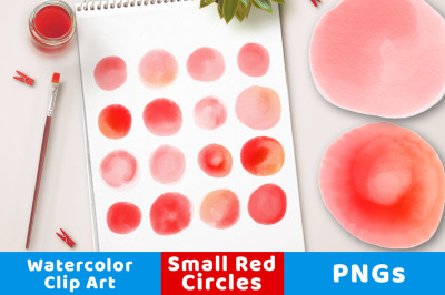 Watercolor Circle Clipart- Small Red, Watercolor Clipart