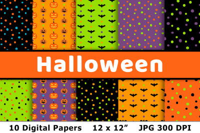 Halloween Digital Papers 2, Halloween Scrapbook Paper Backgrounds
