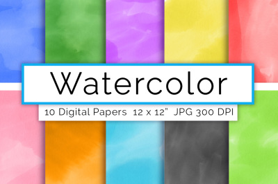 Watercolor Digital Paper- Assorted, Watercolor Backgrounds