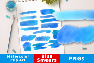 Blue Watercolor Clipart- Smears, Watercolor Clipart Blue Strokes