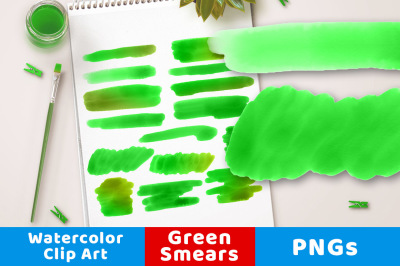 Green Watercolor Clipart- Smears, Watercolor Clipart Green Strokes