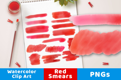 Red Watercolor Clipart- Smears, Watercolor Clipart Red Strokes