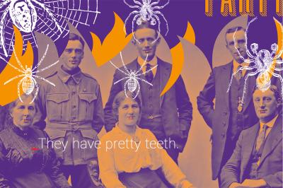 Halloween flyer vintage and vampire