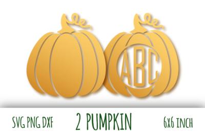 Two pumpkins svg. Thanksgiving digital clipart