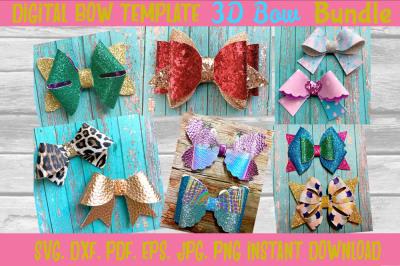 3D Hair bow Template Bundle. Svg. Dxf. Pdf. Eps. Jpg. Png