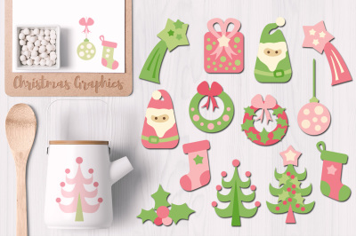 Cute Christmas Graphics, pink lime green