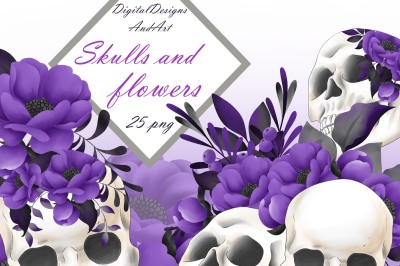 Skull and flowers clipart