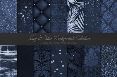 Navy Blue & Silver Textures