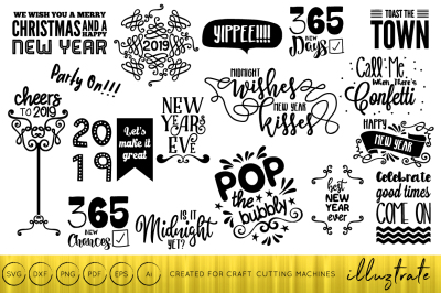 New Years 2019 SVG Cut File Design Bundle