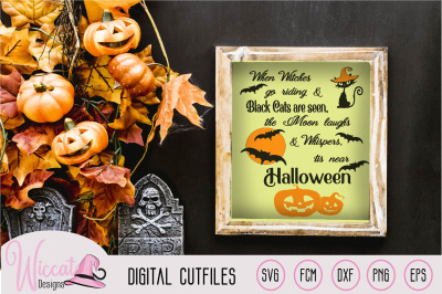 Halloween countdown sign svg, Black cats svg, Moon whisper