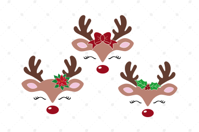 Christmas Reindeer SVG Reindeer Face SVG Cut Files