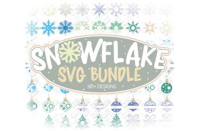 Snowflake SVG Bundle Monogram in SVG, DXF, PNG, EPS, JPEG