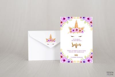 Birthday Invitation Card UNICORN PURPLE LOVE